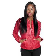 NEW - Kate & Mallory Faux Leather Long Sleeved Knit Panel Quilted Jacket 1X