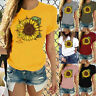 Women's Short Sleeve T-Shirt Sunflower Print Graphic Casual O-Neck Tops Blouse