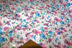 1m x 1.45m wide 'PINK & BLUE FLORAL PRINT' COTTON Fabric, Mid Weight