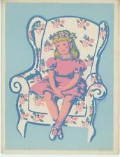 VINTAGE BLONDE GIRL PINK DRESS CHAIR WOODBLOCK MARY BARBARA OWEN CARD ART PRINT