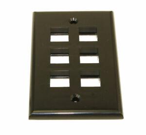 Wall plate: Keystone  6 Hole - Black