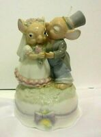 Vintage Schmid Ceramic Music Box Mouse Mice Wedding Bride & Groom Plays Memory