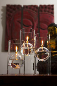 Set of 3 La Manga Glass Oil Lamps / Candles for use with Odourless Lamp Oil
