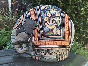 Stunning Vintage Silk Crewel Work Hand Embroidered Indian Elephant Teapot Cosy