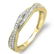 10K Yellow Gold Round Diamond Wedding Band Swirl Matching Ring 1/4 CT (Size 8.5)