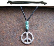 Paz Collar colgante hippie Surfista Azul joya cuero negro marrón collar