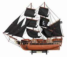 Jolly Roger High Seas Frigate Black Pearl Pirate Ship Nautical Wood Model Ship