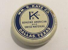 Vintage Wm R. Katz Co Texas Round Tin Metal Case Watch Movement Holder