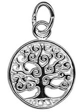 1 STERLING SILVER 925 SMALL TREE OF LIFE CHARM / PENDANT + OPEN JUMP RING, 12 MM