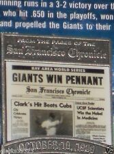 SF Giants WIN PENNANT OCT 10 1989 San Francisco Chronicle PIN Will Clark