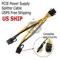 PCIE 6pin to Dual 8pin( 6+2) Y-Splitter Extension cable for video card 60CM LN