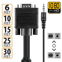 VGA Cable SVGA M-M Monitor Video Cable w/3.5 audio Support 1080P Full HD for PC