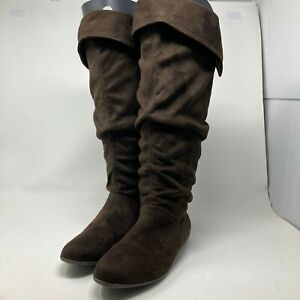 Women's Nine West Brown Swiperli Slouch Boots Over Knee Size 9M Pull On Casual
