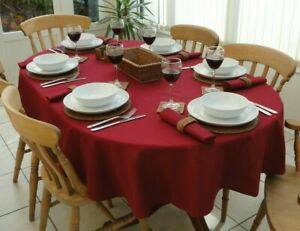 """55x78"""" (140x200cm) WINE OVAL COTTON TABLECLOTH - 6 SEATER"""