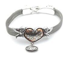 Cherub Angel Heart Bracelet Religious Family Dangle Charm Silver Plated Enamel