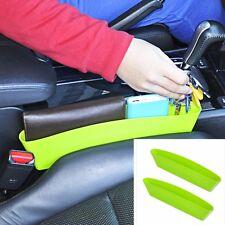 2PCS Green Car Seat Seam Catcher Box Storage Pocket Wallet Book Holder Organizer