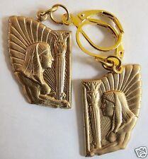 Stile Egiziano Goddess & personale raw in Ottone Realizzata a Mano Orecchini Per Orecchie Forate