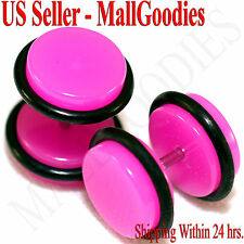 2028 Dark Hot Pink Fake Cheater Illusion Faux Ear Plugs 16G Bar 00G = 10mm 2pcs