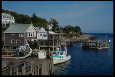228028 Piers Houses And Boats New Harbor A4 Photo Print