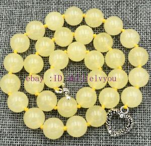 "Handmade 12mm Brazil yellow jade Necklace 18"" Tibetan silver love clasps"