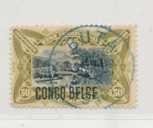 D141583 Belgian Congo VFU Train on Railroad Bridge on M'pozo 1908 50 c