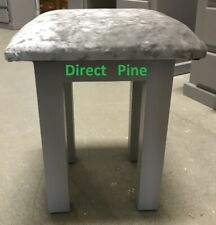 PINE FURNITURE BEDROOM STOOL GREY WITH SILVER GREY CLOTH TOP