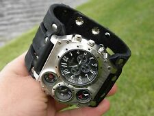 Buffalo Leather handmade wristband  cuff bracelet Men`s Watch Steam punk compass