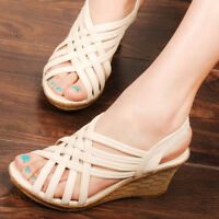 Summer Womens Sandals Wedge Heel Platform Open Toe Fish Mouth Casual Beach Shoes