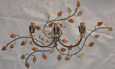 APPLIQUE LAMPADA DA PARETE GRANDE 3 LUCI LED FERRO BATTUTO FORGIATO art.135