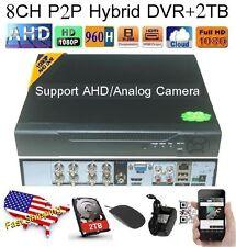 8Ch AHD Hybrid CCTV DVR 1080P NVR Video Recorder for IP/AHD/Analog Camera +2TB