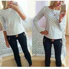 New Fashion Women Polka Dot Casual Loose Chiffon Long Sleeve Shirt Blouse Tops