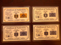 ACB Gold Silver Platinum Palladium 1GRAIN BULLION MINTED Bars w/COA'S (4 bars) $
