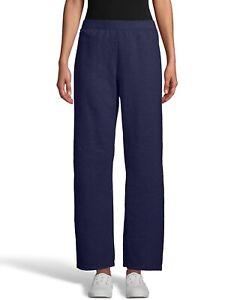 Hanes ComfortSoft EcoSmart Open Bottom Leg Fleece Sweatpants, Navy, Small,Petite