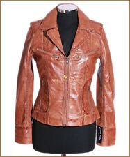 Ladies Smart Military Leather Jacket Genuine Lambskin Leather Tan Biker Jacket
