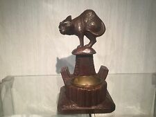 wooden statue cat  black forest antique wood carved early glas eyes