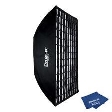 Phot-R 80x120cm Softbox Bowens Mount Speed Ring Honeycomb Grid Microfibre Cloth