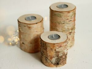 Rustic Wooden Christmas Log Birch Wood Tea-light Candle Holder Wedding Gift ECO