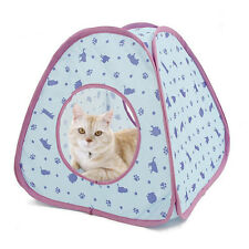 Cat Tent House Blue Lovely Cat Tunnel Collapsible Playing Fun Cat Bed House Tent