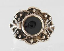 Vintage Poison Ring Sterling Silver Onyx sz8 Handcrafted Artisan Studio by T.T.