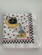 New Mary Engelbreit Luncheon Paper Napkins 20-3 Ply~Teapot~Checkerboard Border