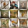 """18"""" Hummingbird Print Cotton Linen Bird Pillow Case Cushion Cover Home Decor"""