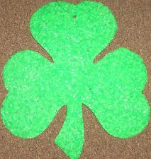 "Large 16"" By 14"" Green Popcorn Melted Plastic Shamrock For Saint Patricks Day"