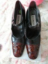 Vintage Women Shoes Rossimoda Brown Black Size 11 Ankle Strap Leather Italy