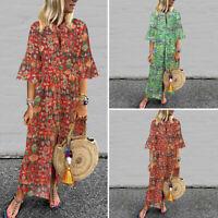 Mode Femme Manche évasée Col V Impression Fendu Droit Jupe Plage Robe Dresse