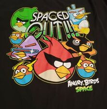 XL black T-Shirt ANGRY BIRDS spaced out VIDEO phone GAME space 100% cotton