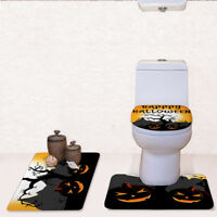 Halloween Party Toilet Seat Cover Horror Scary Decoration Bathroom Mat 3 pcs