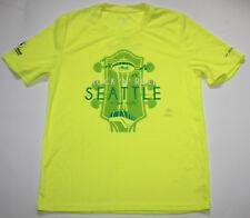 New Men's BROOKS Bright Yellow Running Jogging Shirt 2016 Seattle Marathon - XS