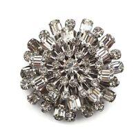 Vintage Silver Tone Crystal Rhinestone Cluster Fashion Brooch Scarf Lapel Pin
