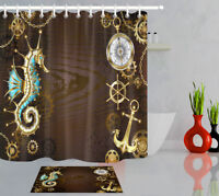 Sea Antique Steering Wheel Golden Anchor Gear Bath Fabric Shower Curtain Set 72""