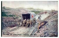 Antique WW1 military postcard Helping An Ambulance Through The Mud